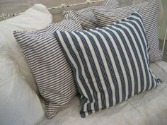 vintage blue ticking pillows
