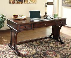 Devrik - Home Office Desk with Bookcase & Storage Cabinet by Signature Design by Ashley. Get your Devrik - Home Office Desk with Bookcase & Storage Cabinet at Furniture Warehouse, Holland MI furniture store. Wood Office Desk, Home Office Desks, Home Office Furniture, Cool Furniture, Office Decor, Office Ideas, Furniture Ideas, Office Designs, Office Nook