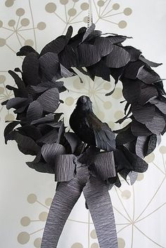 Black Crepe Paper Wreath