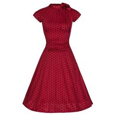 Pin Up Red Black Vintage Reproduction 1950s Polka Dot Dress ❤ liked on Polyvore