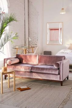 Love this Petite Velvet Sofa | Available in:Burnt Orange ,Dark Grey ,Lavender ,Moss ,Sky All-in-1 velvet sofa and bolster pillow set for a luxe take on midcentury-modern we love. Two-seater sofa comes in soft-sheen velvet with clean lines, four removable