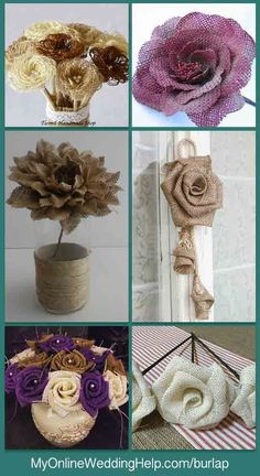 An alternative to making your own rustic burlap flowers is to have someone else make them for you. All but one of these come with stems already attached. The other has rope branches(you can hang that (Diy Curtains Burlap) Burlap Flowers, Felt Flowers, Diy Flowers, Fabric Flowers, Paper Flowers, Burlap Projects, Burlap Crafts, Burlap Wreath, Burlap Ribbon