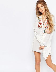 Glamorous+Floral+Embroidered+Smock+Dress