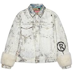 Gucci Guccighost Denim Jacket ($3,675) ❤ liked on Polyvore featuring outerwear, jackets, coats, denim, ready to wear, women, pattern jacket, print jacket, quilted jacket and denim jacket