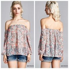 Floral Print Off the Shoulder Top Have to say, I'm in love with this top! Floral print-off the shoulder top (unlined/semi-sheer). Will def need to wear a strapless bandeau/bralette...or a strapless cami/tank under. Lightweight. Color is best described as in the last picture. 100% Polyester. Tops Tank Tops