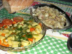 Cinco sentidos na cozinha: Bacalhau desfiado com salada de batata, cenoura e ...