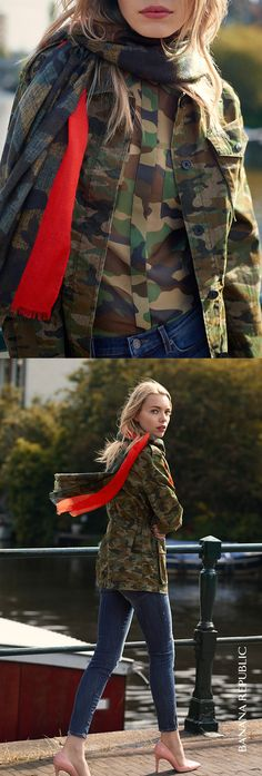 What's better than camo this fall? More camo to really play up the trend. Layer a camouflage jacket over a matching long sleeve blouse and scarf. Add a dash of red and soft pink pumps for a perfect masculine meets feminine combination.