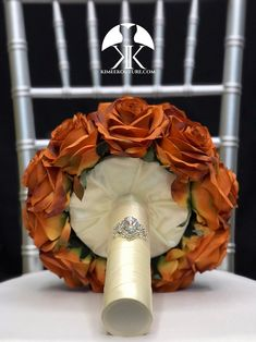 BURNT ORANGE Bridal Bouquet With BROOCH Handle. Burnt Orange Bouquet. Burnt Orange Brooch Bouquet. Burnt Orange Wedding. Qunceanera Bouquet. Pick color!! Bouquet measures approximately 11 wide and 13 in height.  This dreamy