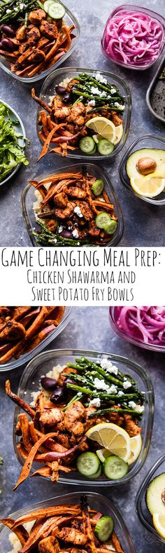 Meal Prep: Chicken Shawarma and Sweet Potato Fry Bowls Clean Eating Recipes, Lunch Recipes, Healthy Eating, Cooking Recipes, Healthy Recipes, Asian Recipes, Sweet Recipes, Healthy Snacks, Lunch Meal Prep