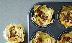 Food special: Petite filo quiche Lorraine (Pascale) with red onion, ba