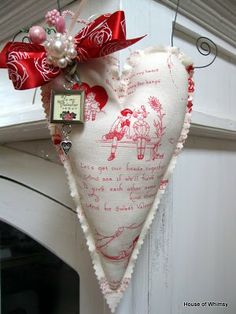 Red and white material valentine.