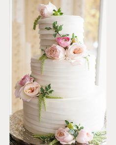 elegant white wedding cake with pastel flowers ~  we ❤ this! moncheribridals.com