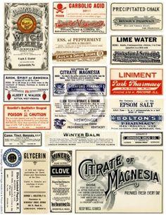 Vintage Medical and Poison Labels Collage Sheet No. 2