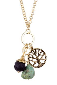 Endless Tree of Life & Lava Rock Necklace by Gold Rush on @HauteLook