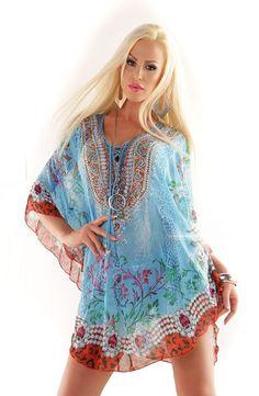 Exkluzívne letné plážové dámske krátke šifónové mini šaty kaftan tunika - tyrkysová