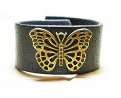 Brass Butterfly Black Distressed Leather Cuff by UrbanRusticMarket, $25.00