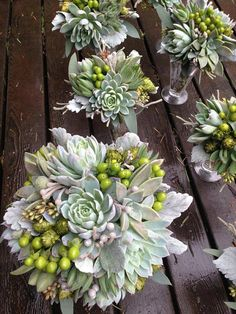 Bridal bouquet Grey succulents with chartreuse by bohemianbouquets