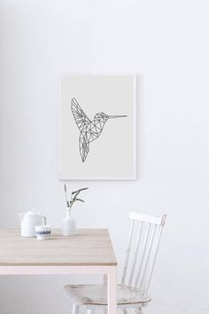 Hummingbird Print Nursery Wall Art Prints Geometric Wall