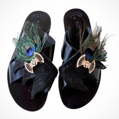 Black leather sandals with peacock feather Black Leather Sandals, Black Sandals, Greek Sandals, Peacock, Feather, Artist, Handmade, Diy, Shoes