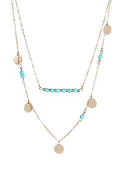 Double Layer Circle Necklace with Aqua Beads - Arrow Trends