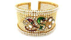 Indian Bollywood Fashion Women Designer Pearl CZ Peacock Bangle Bracelet Gift #ShouryaExports #Bangle