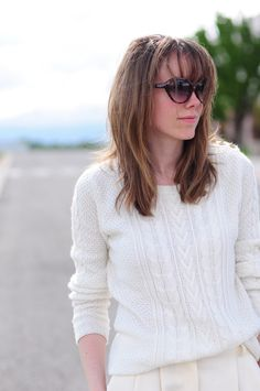 White cable knit.