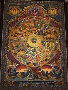 Wheel of life hand painted master piece canvas cotton thangka made in nepal Administrative Work, Wheel Of Life, Bloated Belly, The Deed, Hand Painted Canvas, Inevitable, Worlds Of Fun, Tibet