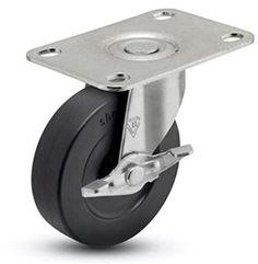 """3"""" Swivel Caster w/ Brake, Soft Rubber Wheel, 1-3/16"""" x 2"""" Top Plate"""