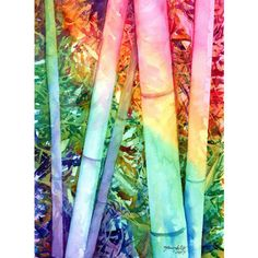 bamboo original watercolor painting kauai rainbow bamboo asian... ($119) ❤ liked on Polyvore featuring home, home decor, colorful home decor and bamboo home decor