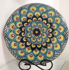 Prato Pavão de cerâmica redondo estilo italiano