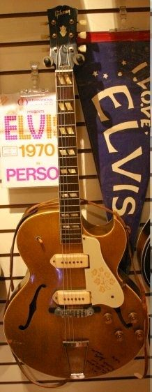 The guitar that changed the world. Scotty Moore's Gibson ES295 Gold Top. Moore was the first rock guitarist as he backed Elvis. http://www.pinterest.com/pin/549368854520648924/