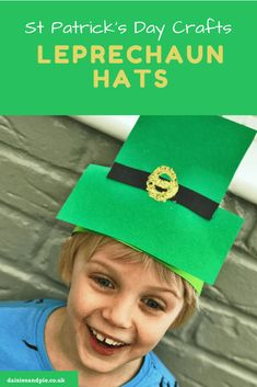 SUPER CUTE St Patricks Day kids craft - make Leprechaun hats in next to no time - perfect for St Patricks Day celebrations #stpatricksdaycraft #kidscrafts #springcraftsforkids #kidsspringcrafts #kidsstpatricksdaycrafts #leprechaun