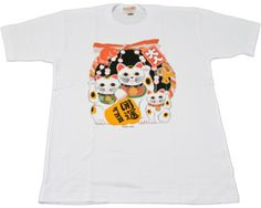 A group of maneki-neko, beckoning cats, is printed on the front of this t-shirt.  Beckoning cat statues are commonly placed at the entrance of Japanese shops and businesses to bring good luck to the owners. Made in Japan with 100% Japanese Cotton.