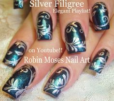 Nail Art Tutorial| DY Elegant filigree Nail Design | Dark blue and Silve...
