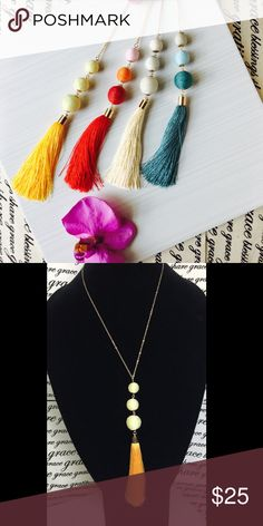"""🎋Long Tassel BonBon Neclaces Beautiful silk wrapped BonBon balls with Gold Adjustable Chain measures 23"""" from back of neck to bottom of Tassel Jewelry Necklaces"""