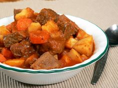A bowl of delicious southern homemade beef stew. I cut out the sugar completely, and I doubled the Worcestershire sauce. Angie and the kids really liked it