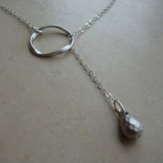 Matte Rhodium Lariat  Modern Necklace fun chic jewelry by 4ever4, $22.00