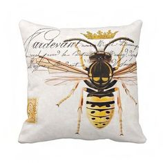 Pillow Cover Yellow Queen Bee with Crown Cotton and от JolieMarche, $35.00