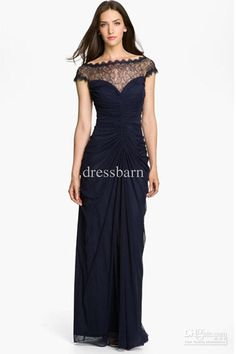 Wholesale Mother of the Bride Dresses - Buy - Free Shipping! Fantastic Navy Blue A-line Lace Portairt Ruffle Empire Mother Dress Chiffon Zipper Floor-length Mother of the Bri, $129.0 | DHgate