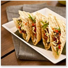 "A crispy, Asian take on tacos with Ahi Tuna and Asian Slaw and Wasabi Lime Avocado Sauce - Hard to say ""no"" to this! #BigGame"