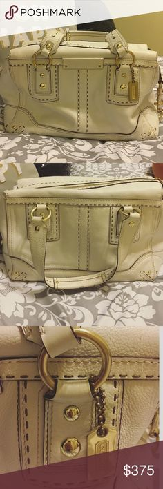 REAL LEATHER COACH PURSE ALL WHITE w/ gold accents In great condition! Expensive when purchased! Only has very few wear marks as you can see in the pictures but is great quality and such a pretty purse! It's all white with gold accents! Bought from the coach store Coach Bags