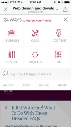 Awesome navigation UI for a mobile site