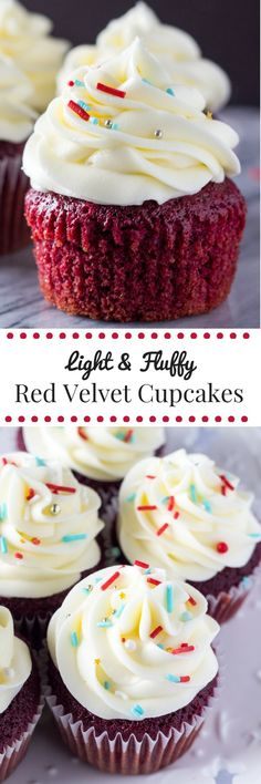 Light & fluffy, perfectly moist Red Velvet Cupcakes topped with tangy cream…