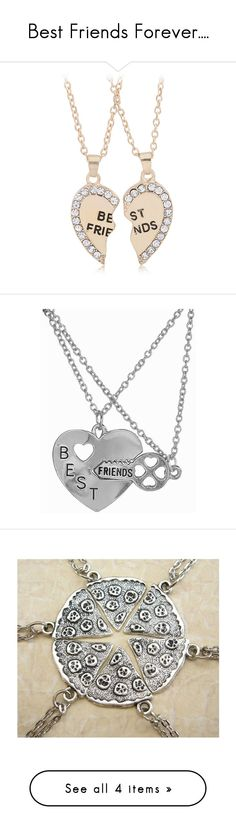 Best Friends Forever.... by joleymlt-1 on Polyvore featuring jewelry, pendants, diamond pendant, heart pendant, yellow gold pendant, gold diamond pendant, diamond pendant jewelry, heart jewelry, silver jewelry and silver pendant necklace