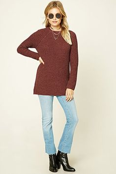 Crew Neck Tunic Sweater