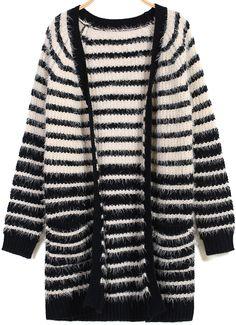Black Apricot Long Sleeve Striped Cardigan 27.67