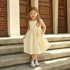 Light Yellow Button Strap Dress – Lolly Wolly Doodle