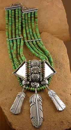 Green Turquoise necklace with three silver feathers by Mummy's Bundle