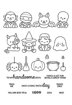 Online Shop Transparent Clear stamp and cutting dies DIY Silicone Seals Scrapbooking /Card Making/Photo Album Decoration Kawaii Halloween, Halloween Doodle, Halloween Clipart, Halloween Crafts, Halloween Images, Cute Halloween Drawings, Halloween Kids, Doodle Drawings, Easy Drawings