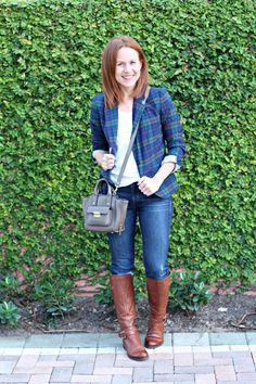 Plaid blazer, denim and riding boots! Fall staples.